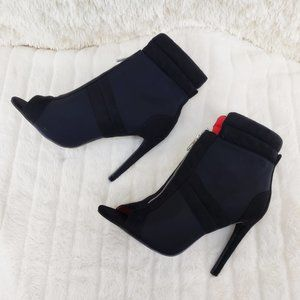 "Front Zipper 4"" High Heel Ankle Boots"